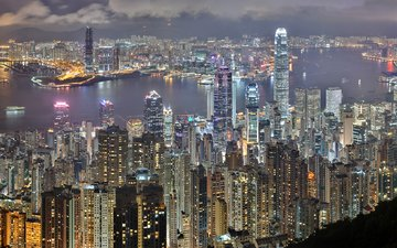 ночь, вид сверху, город, небоскребы, гонконг, вечерний город