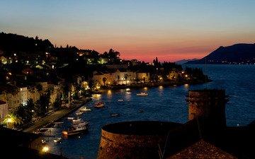огни, закат, море, лодки, бухта