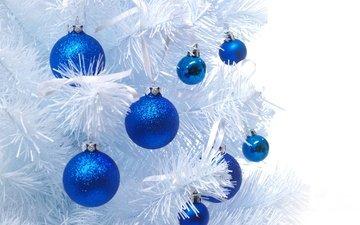 новый год, елка, шары, шарики, игрушки, синие, рождество, елочные игрушки, белая, синий шар, елочные, новогодние игрушки, белая елка, новогодний шар