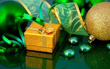 новый год, подарки, зеленая, лента, упаковка, золотая, рождественские украшения