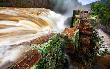 деревья, река, камни, скала, кусты, водопад, поток, дамба