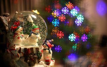 новый год, снежинки, фон, игрушки, праздник, рождество, снеговики