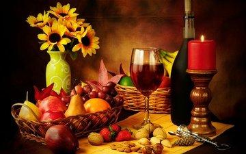 свечи, орехи, виноград, фрукты, яблоки, клубника, бокал, корзина, вино, стекло, свеча, бутылка, красное, земляника, натюрморт, вина, груши, красное вино, гайки, штопор, cвечи, cтекло