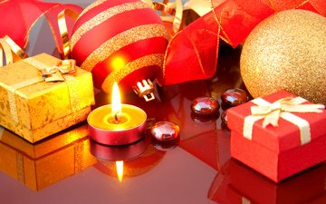 новый год, шары, украшения, пламя, отражение, огонь, подарки, свечка, лента, свеча, подарок, праздник, встреча нового года, новогодние игрушки, счастливого рождества, 2017, пламя свечи