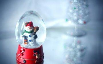 снег, игрушка, снеговик, праздник, стеклянный шар, шарф, снеговик в шаре