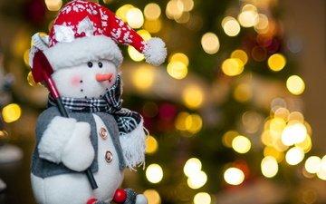 огни, новый год, снеговик, праздник, рождество