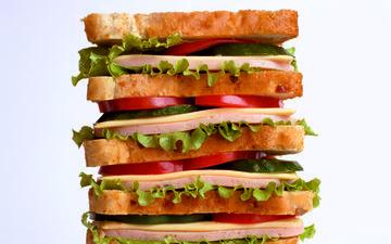 бутерброд, сыр, помидоры, салат, огурцы, сэндвич, ветчина