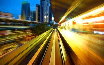 огни, город, скорость, движение, метро, подземка