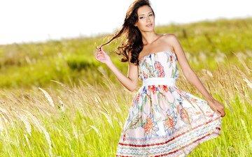 небо, трава, девушка, улыбка, поле, лето, взгляд, колосья, безмятежность, шатенка