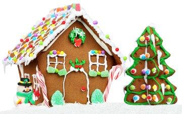 новый год, елка, шары, снеговик, дом, праздник, рождество, торт, новогодние игрушки, пряничный домик