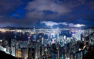 небо, облака, ночь, огни, небоскребы, мегаполис, китай, гонконг