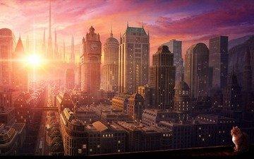солнце, кот, город, небоскребы, движение, улицы