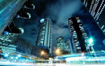 night, japan, skyscrapers, tokyo