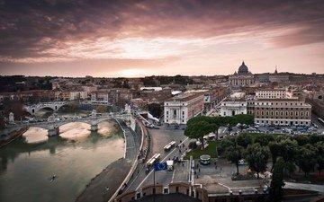 река, восход, панорама, мост, италия, рим