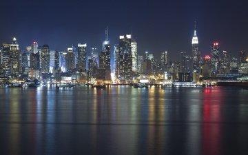 вода, ночной город, бухта