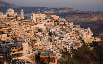 город, дома, греция, крыши