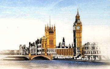 рисунок, лондон, автобус, биг бен, big-ben