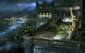 ночь, ангел, статуя, балкон, монако