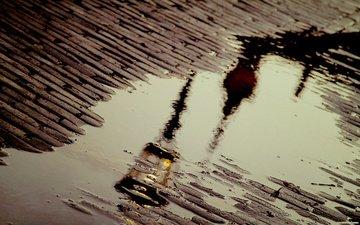 отражение, лужа, мостовая
