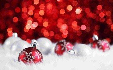 новый год, зима, снежинки, блики, блеск, игрушки