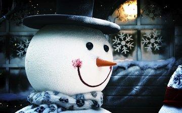новый год, зима, снежинки, снеговик