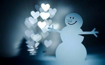 новый год, зима, снеговик, сердечки, новогоднее настроение