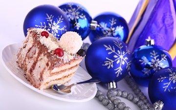 новый год, зима, синий, шар, игрушки, праздник, торт, елочные