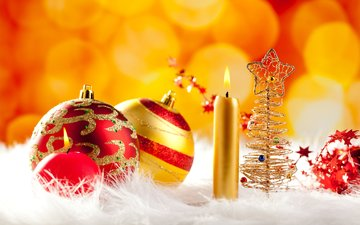 свечи, новый год, зима, блики, шарики, праздник, рождество