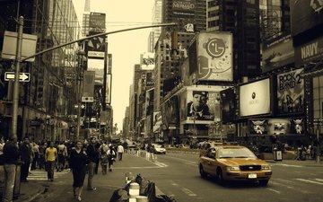 люди, движение, улица, нью-йорк, жизнь, такси