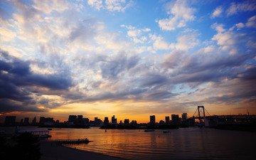 небо, облака, море, мост, япония, токио