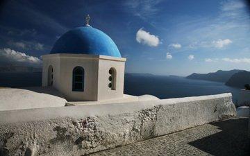 небо, облака, церковь, греция, санторини