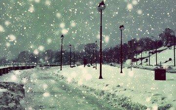 фонари, снег, зима, снежинки, набережная, снегопад
