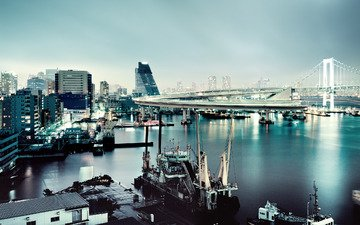 japan, tokyo, rainbow bridge