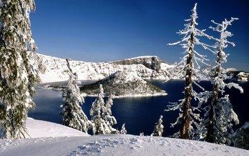 вода, озеро, горы, снег, зима, мороз, сша, ель, орегон, зимний лес, национальный парк, озеро крейтер