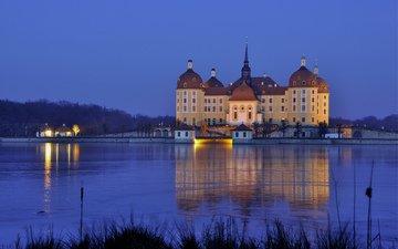 свет, огни, вечер, озеро, замок, германия, особняк, саксония, морицбург