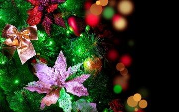 цветы, огни, новый год, елка, шары, блики, праздник, елочные украшения, огоньки, гирлянда, елочные, с новым годом, боке, 2013, бантики