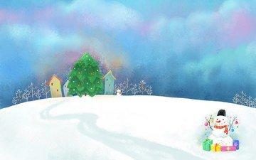 арт, снег, новый год, елка, дома, снеговик, праздник