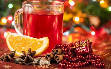 новый год, напиток, корица, праздники, апельсин, бусы, чашка, праздник, рождество, огоньки, анис, бадьян, глинтвейн