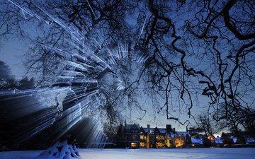 снег, зима, дома, англия, бибери