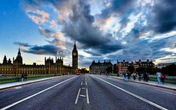 дорога, лондон, англия, биг бен