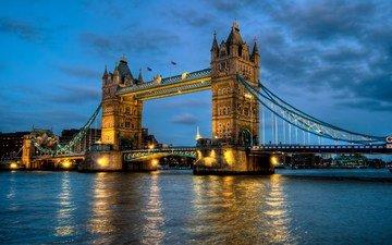 река, мост, лондон, темза, англия