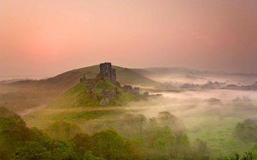 восход, утро, туман, замок, англия