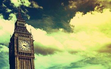 небо, облака, лондон, часы, биг бен