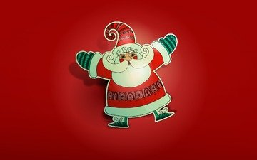 новый год, дед мороз, рождество, красный фон, санта клаус, встреча нового года, счастливого рождества