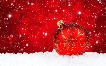 снег, новый год, узор, красный, игрушка, шар, праздники, шарик, рождество, золотой, встреча нового года, елочная