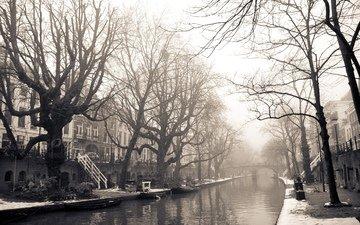 мост, город, дома, улица, нидерланды, амстердам