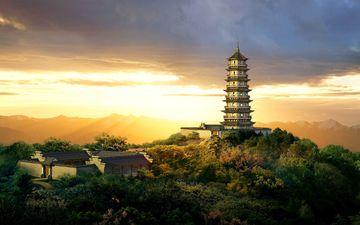 рисунок, деревня, китай