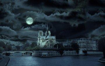 ночь, собор, луна, париж, собор парижской богоматери, нотр-дам де пари