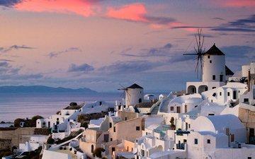 закат, город, мельница, дома, океан, греция, санторини