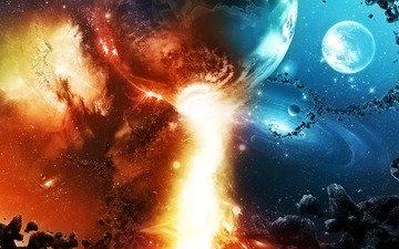небо, космос, камни, звезды, фантастика, огонь, планеты, метеориты, красиво, созвездия